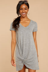 4 The Triblend Side Knot Dress In Heather Grey at reddressboutique.com