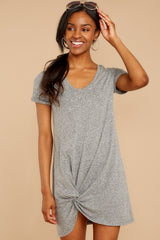 5 The Triblend Side Knot Dress In Heather Grey at reddressboutique.com
