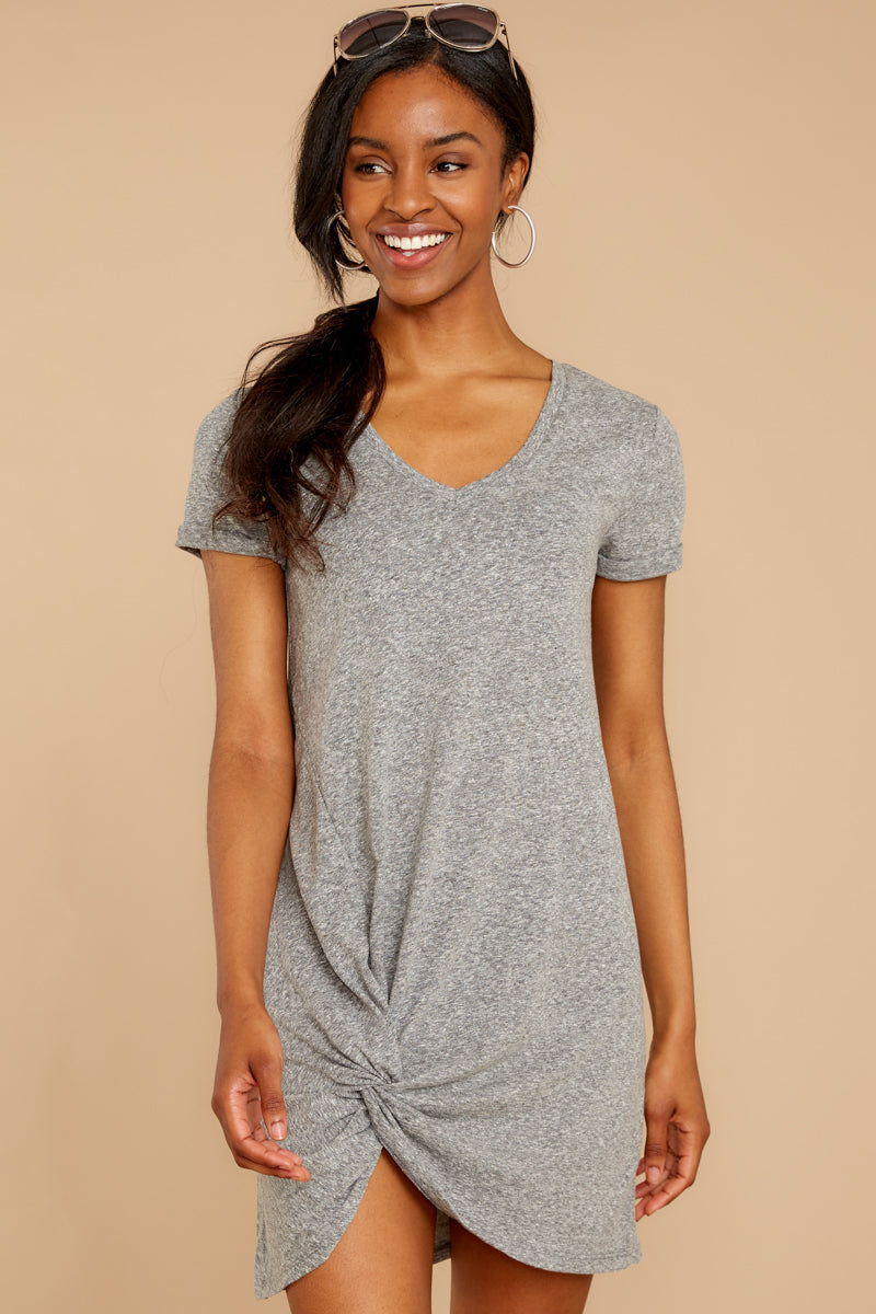 6 The Triblend Side Knot Dress In Heather Grey at reddressboutique.com