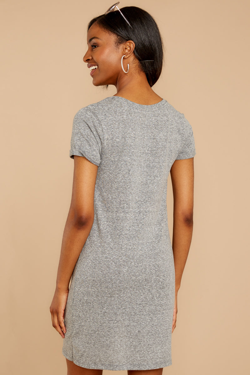 7 The Triblend Side Knot Dress In Heather Grey at reddressboutique.com