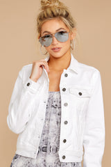 12 Framed By Love White Denim Jacket at reddress.com
