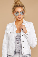 4 Framed By Love White Denim Jacket at reddress.com