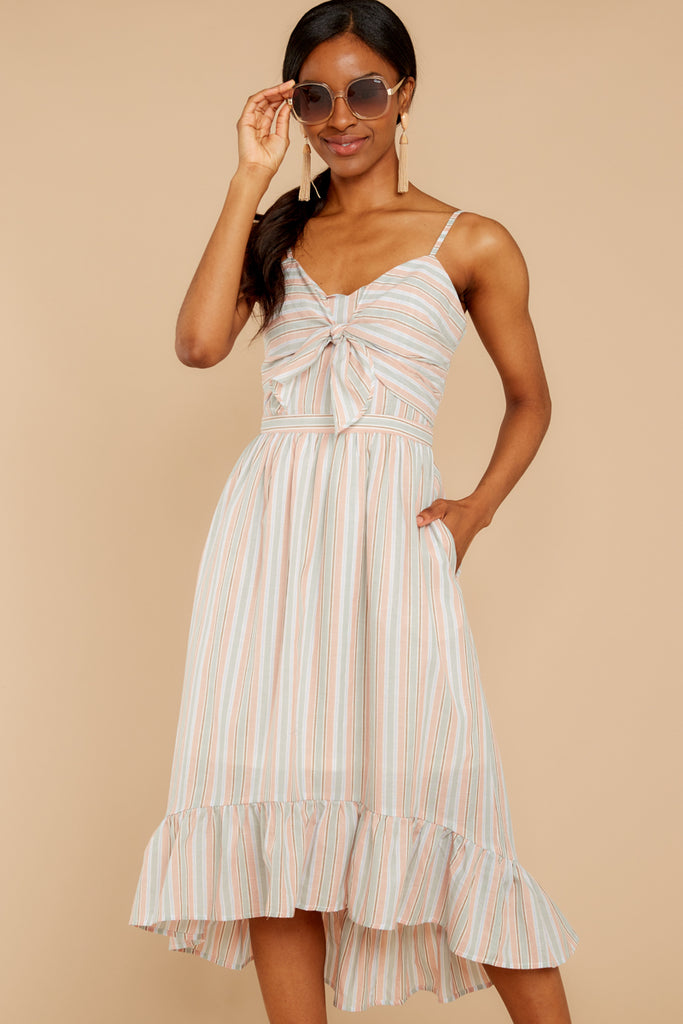 Right On Track Blue Stripe Midi Dress