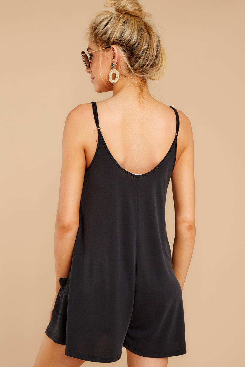7 Every Time I Think About You Black Romper at reddressboutique.com