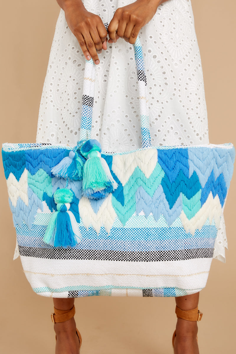 1 Motion Of The Ocean Blue Print Tote Bag at reddressboutique.com