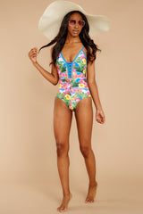 2 Whole Lotta Pina Colada Island Print One Piece at reddressboutique.com