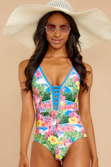 4 Whole Lotta Pina Colada Island Print One Piece at reddressboutique.com