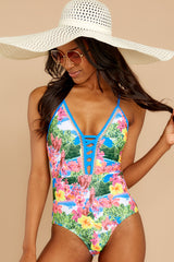 Whole Lotta Pina Colada Island Print One Piece
