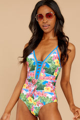 7 Whole Lotta Pina Colada Island Print One Piece at reddressboutique.com