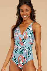 5 By The Dunes Dusty Blue Tropical Print One Piece Swimsuit at reddress.com