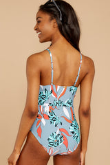 8 By The Dunes Dusty Blue Tropical Print One Piece Swimsuit at reddress.com