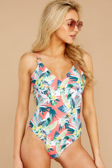 4 Working Tidal Pink Tropical Print One Piece at reddressboutique.com