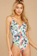 5 Working Tidal Pink Tropical Print One Piece at reddressboutique.com