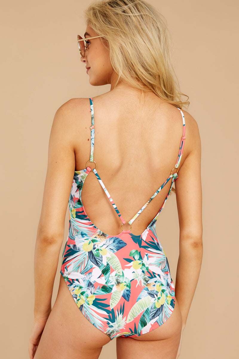 7 Working Tidal Pink Tropical Print One Piece at reddressboutique.com