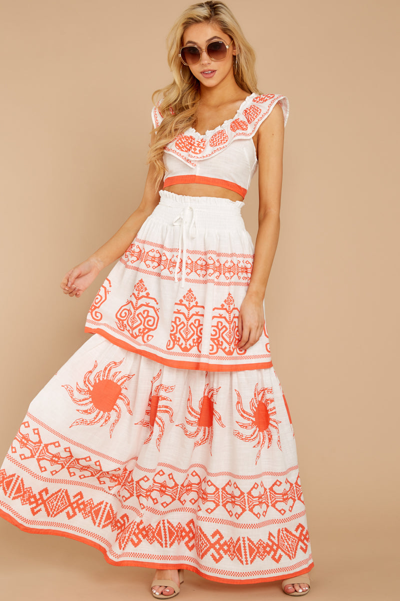 2 A Time For Everything Coral Print Two Piece Set at reddressboutique.com