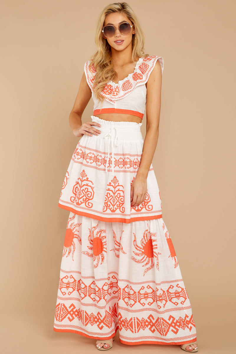 3 A Time For Everything Coral Print Two Piece Set at reddressboutique.com