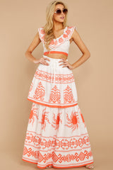 4 A Time For Everything Coral Print Two Piece Set at reddressboutique.com