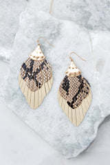 2 Hear Me Well Beige Snakeskin Earrings at reddressboutique.com