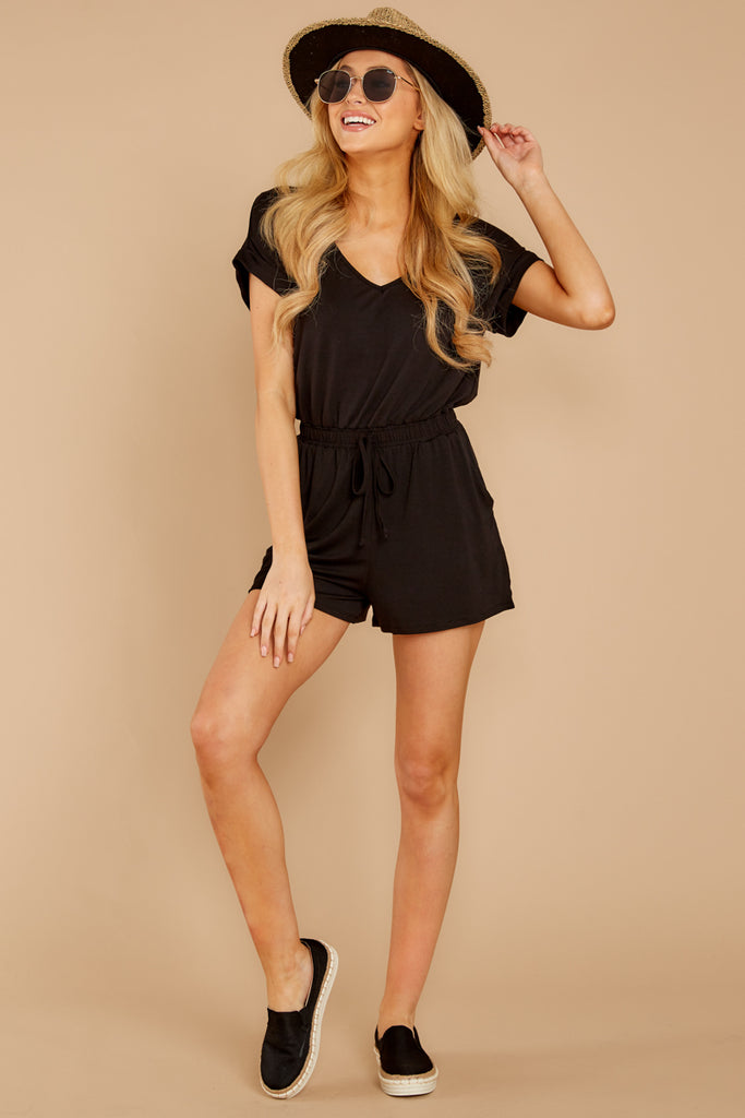 44a98e8d0574 The Blaire Sleek Jersey Romper In Black