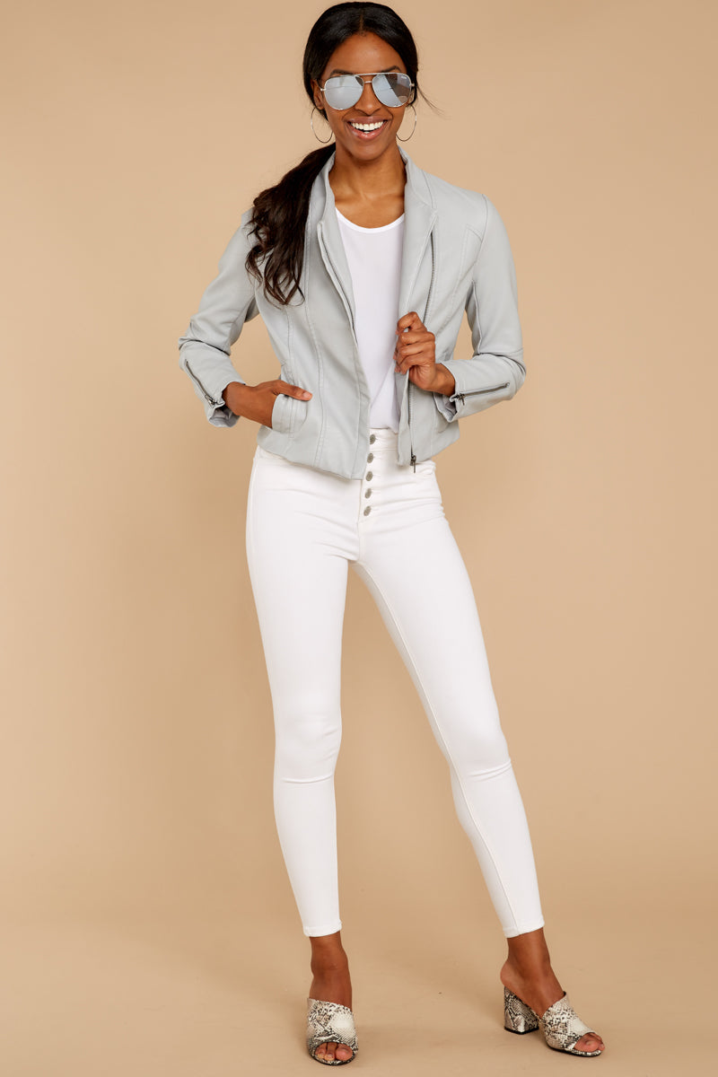 3 Ride With Me Light Grey Moto Jacket at reddressboutique.com