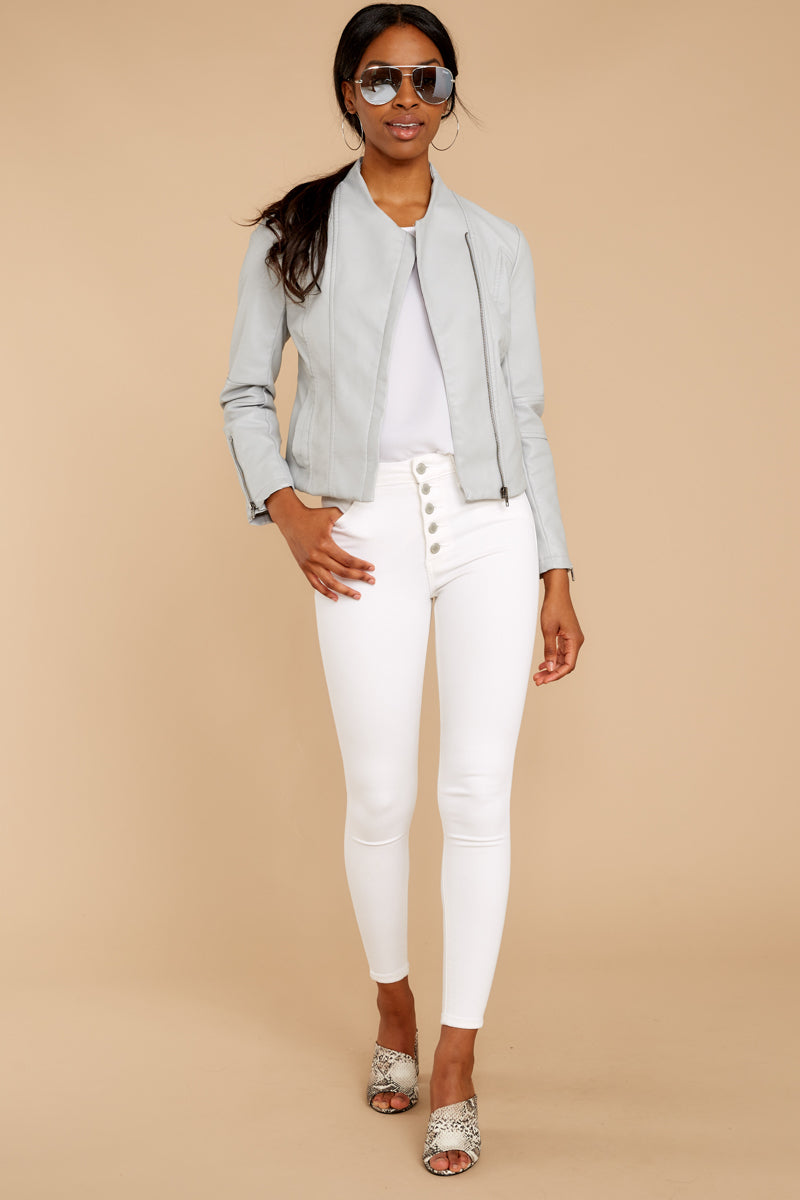 2 Ride With Me Light Grey Moto Jacket at reddressboutique.com