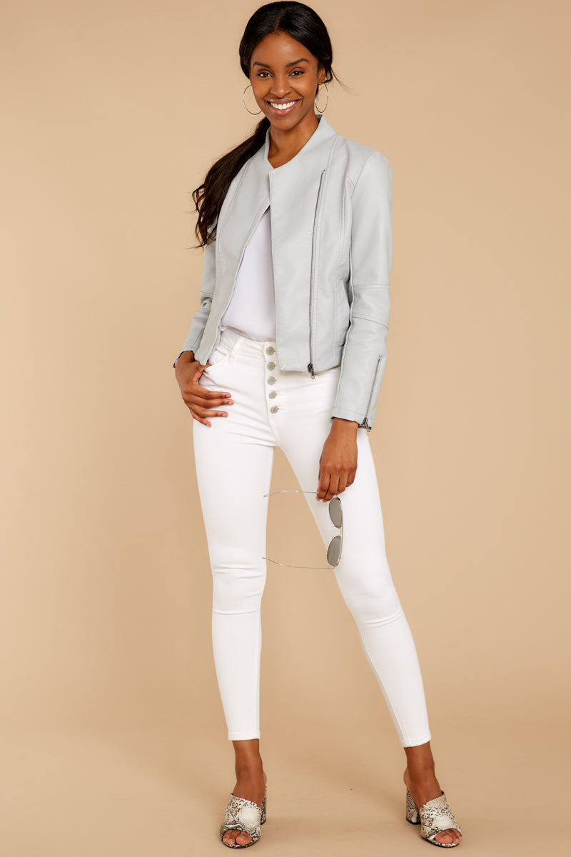 1 Ride With Me Light Grey Moto Jacket at reddressboutique.com