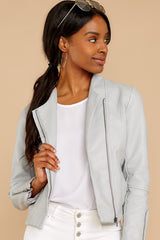 4 Ride With Me Light Grey Moto Jacket at reddressboutique.com