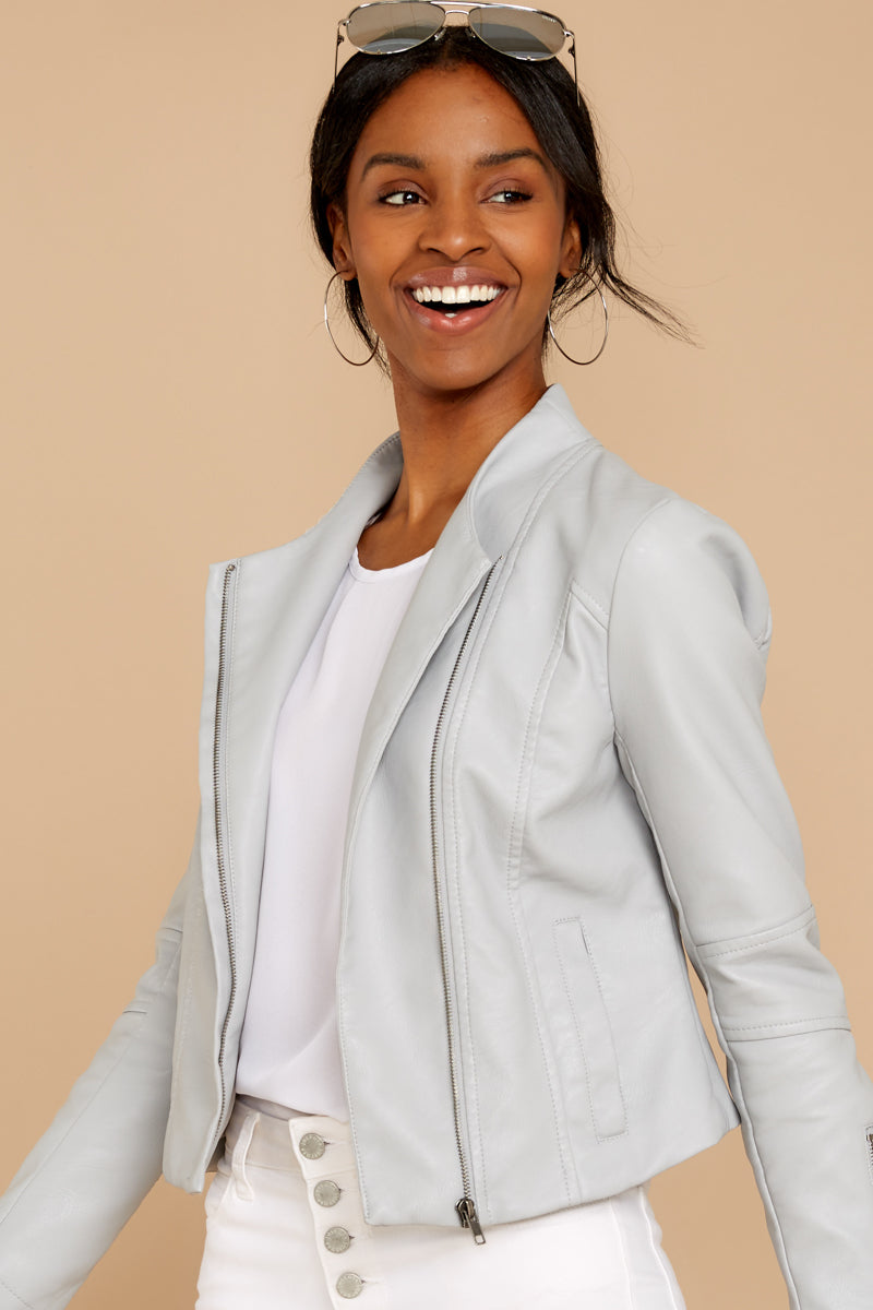 5 Ride With Me Light Grey Moto Jacket at reddressboutique.com