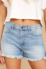 2 Taking Bets Light Wash Denim Shorts at reddressboutique.com