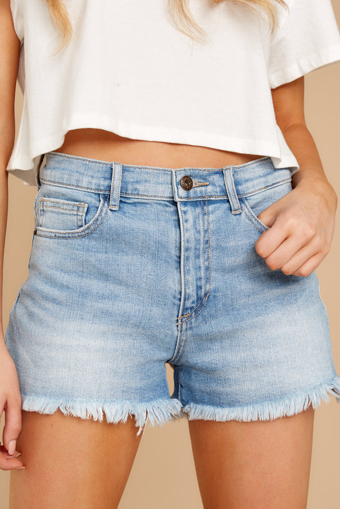 1 Never Ending Summer Medium Wash Distressed Denim Shorts at reddressboutique.com