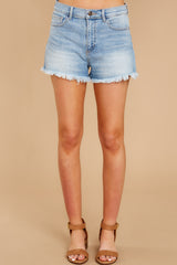 3 Taking Bets Light Wash Denim Shorts at reddressboutique.com