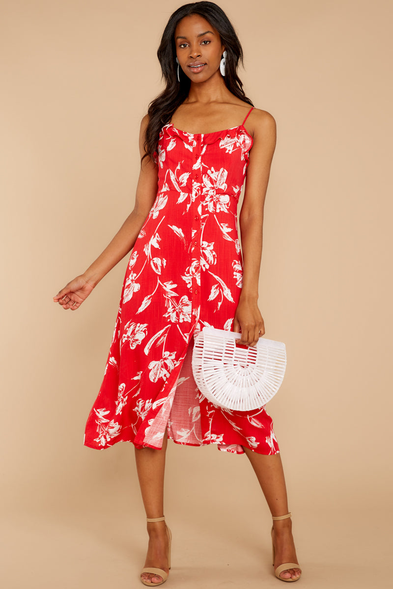 292fa03d59b4 Flirty Red Floral Print Midi - Button Front Midi Dress - Dress - $48 ...