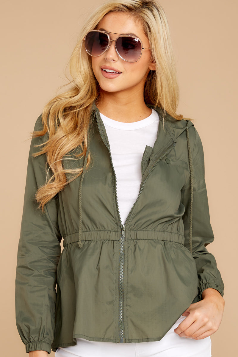 5 Dance In The Rain Heather Green Jacket at reddressboutique.com
