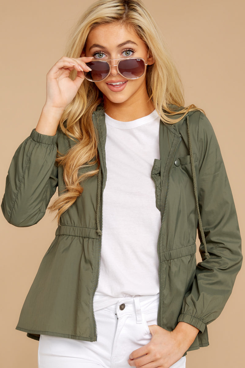 6 Dance In The Rain Heather Green Jacket at reddressboutique.com