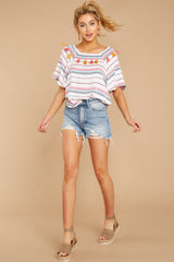 1 Carefree Attitude Pink And Blue Stripe Top at reddressboutique.com