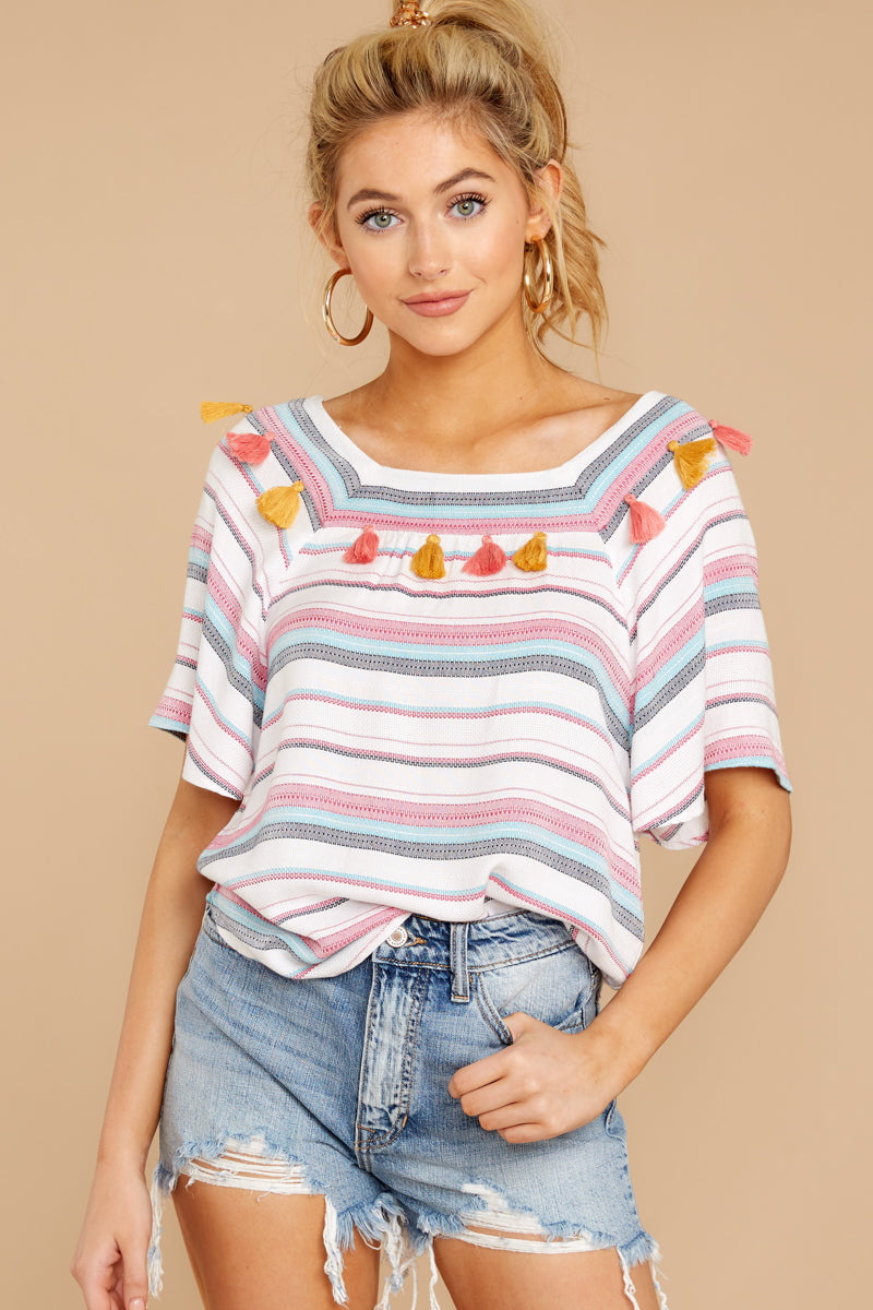 2 Carefree Attitude Pink And Blue Stripe Top at reddressboutique.com