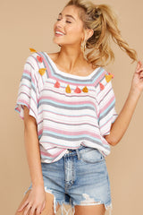 3 Carefree Attitude Pink And Blue Stripe Top at reddressboutique.com