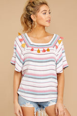 4 Carefree Attitude Pink And Blue Stripe Top at reddressboutique.com