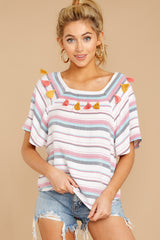 5 Carefree Attitude Pink And Blue Stripe Top at reddressboutique.com