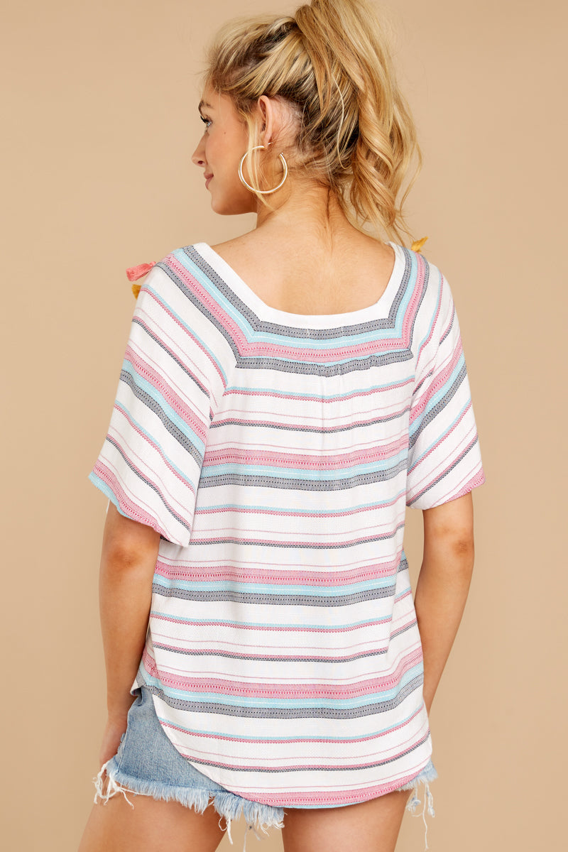 6 Carefree Attitude Pink And Blue Stripe Top at reddressboutique.com
