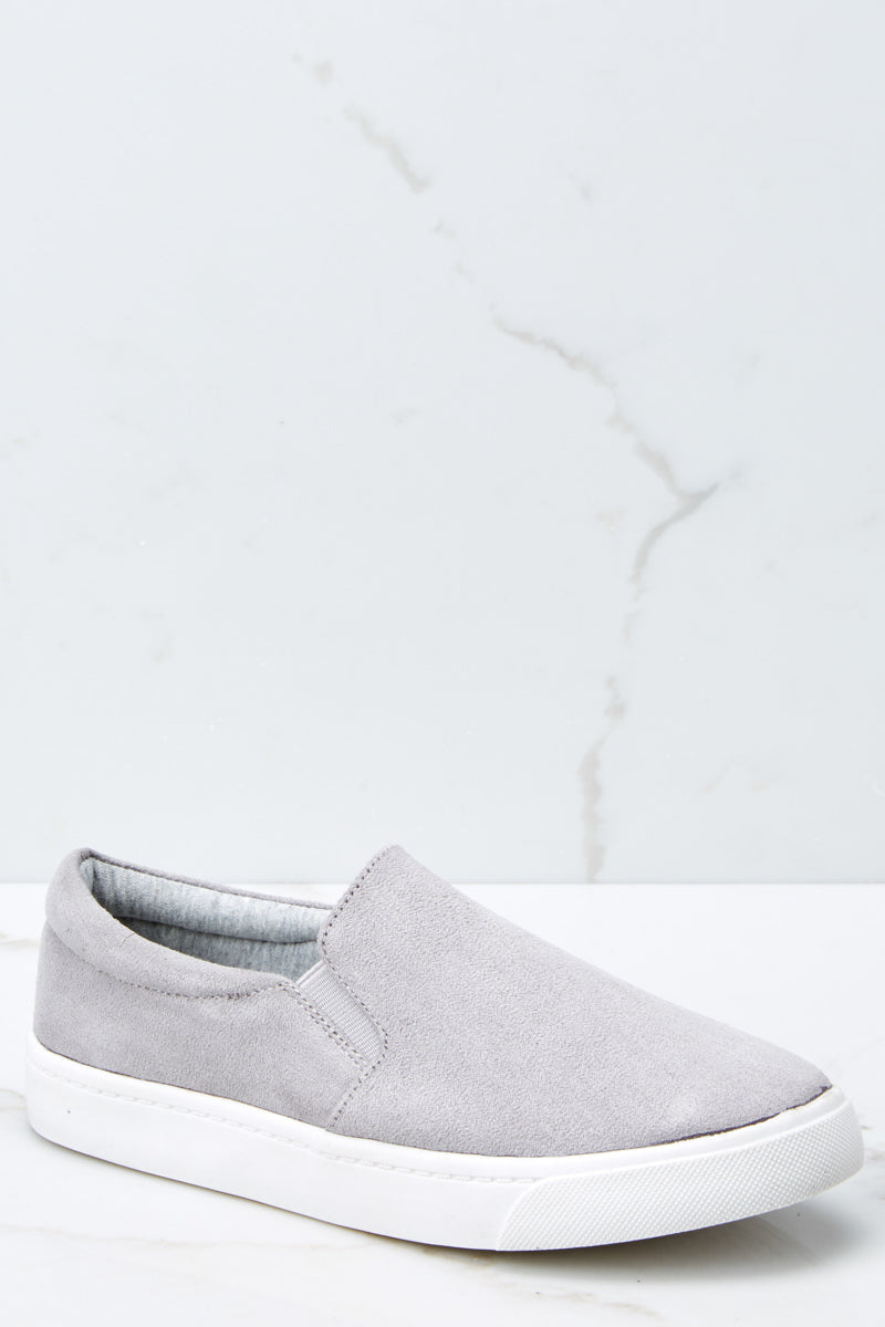eb3e98a4514355 Stylish Grey Slip On Sneakers - Vegan Suede Slip Ons - Shoes ...