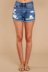 2 Never Ending Summer Medium Wash Distressed Denim Shorts at reddressboutique.com