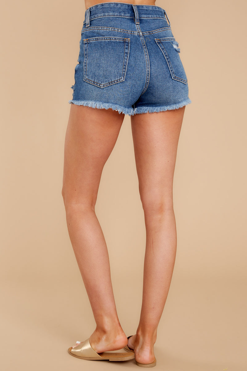 3 Never Ending Summer Medium Wash Distressed Denim Shorts at reddressboutique.com