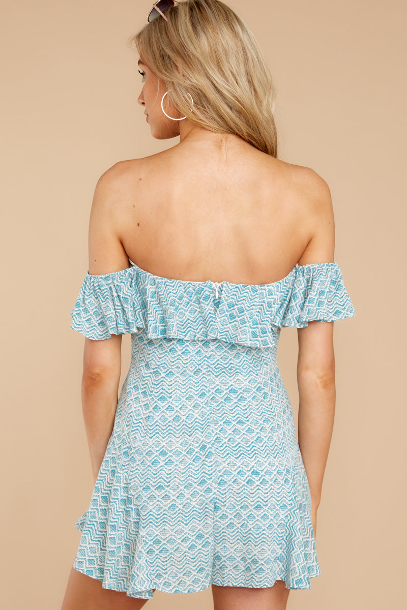 Left A Message Ocean Blue Print Romper