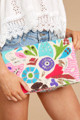 1 Floral Time Multi Embroidered Clutch at reddressboutique.com