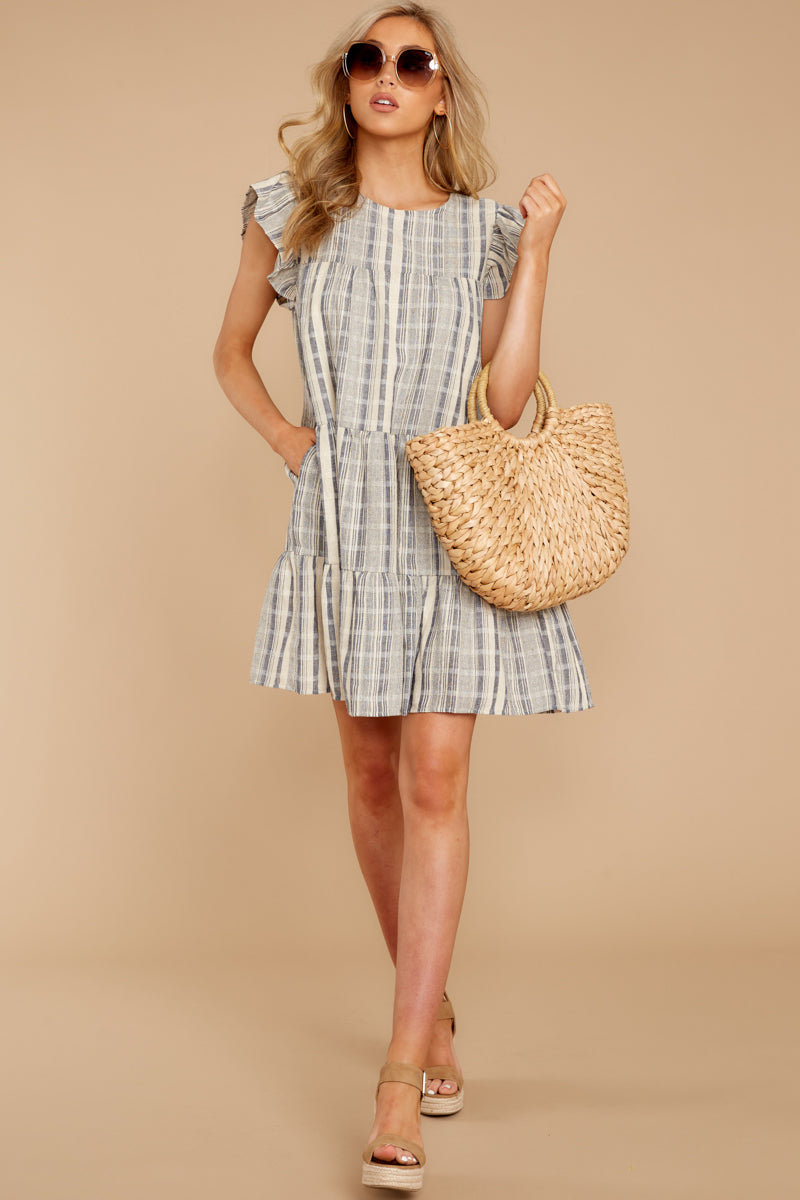 3 Swirl And Twirl Blue Stripe Dress at reddressboutique.com
