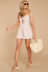 3 Direct Flight Beige And White Stripe Romper at reddressboutique.com