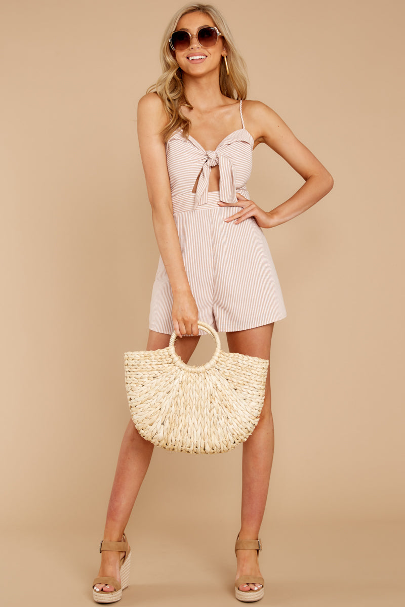 2 Direct Flight Beige And White Stripe Romper at reddressboutique.com