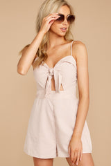 4 Direct Flight Beige And White Stripe Romper at reddressboutique.com