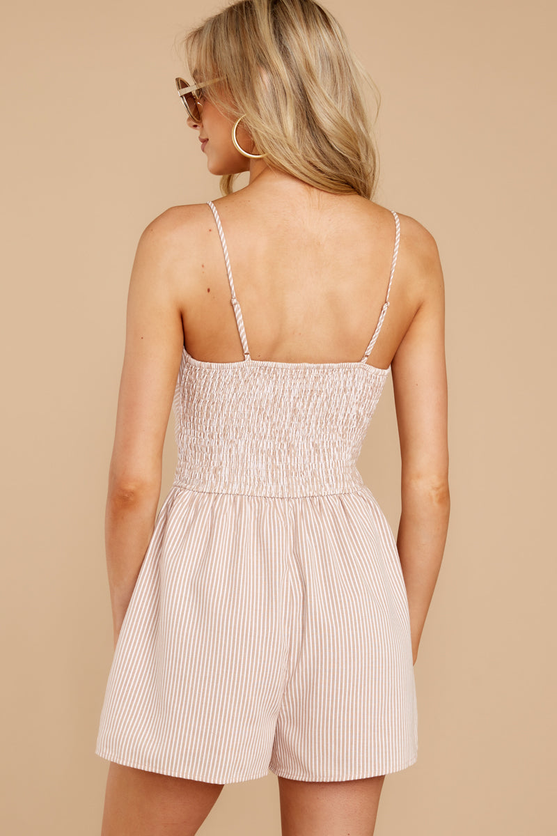 6 Direct Flight Beige And White Stripe Romper at reddressboutique.com